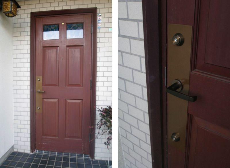 木製玄関ドアの鍵をピッキング対応に交換