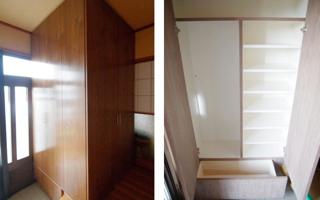 玄関室の一角に2方向から使う造付け収納