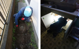 お台所の流し台、排水詰まりを修理する