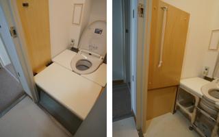跳上げ式の移乗台、家族で共用するバリアフリーなトイレ・1